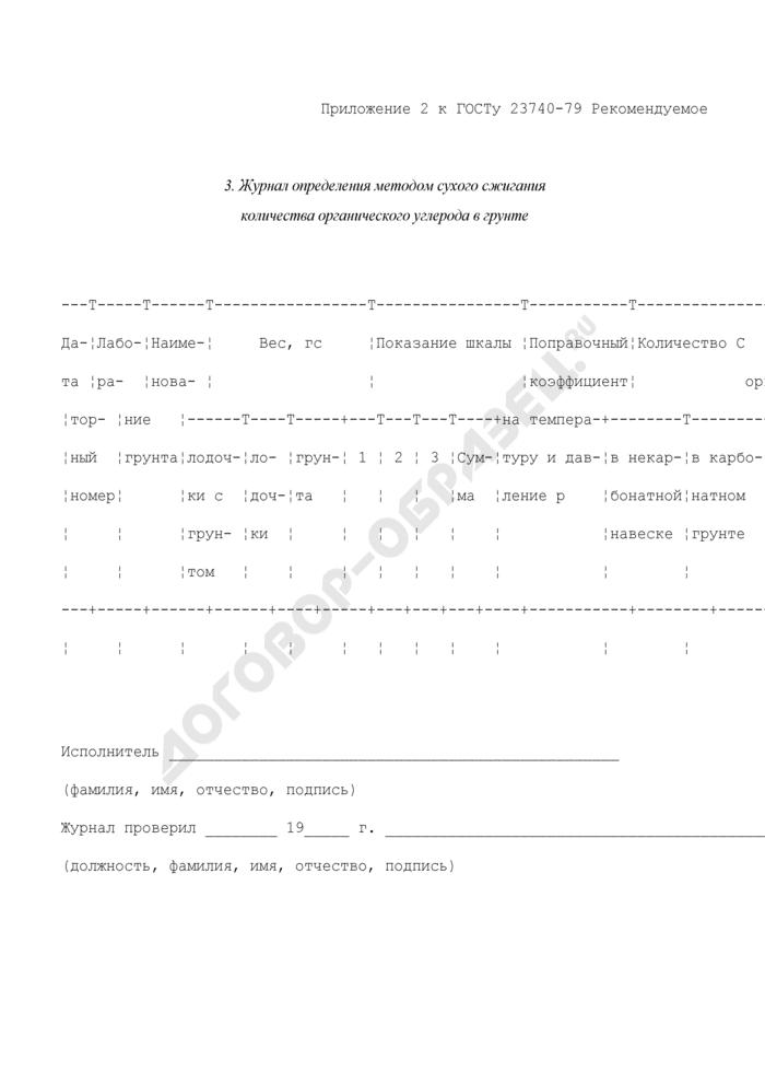Журнал определения методом сухого сжигания количества органического углерода в грунте (рекомендуемая форма). Страница 1
