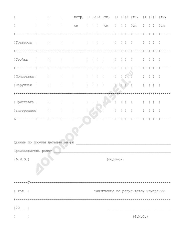 Ведомость (журнал) измерения загнивания деталей деревянных опор на воздушных линиях электропередачи напряжением 35 - 800 кв. Страница 2