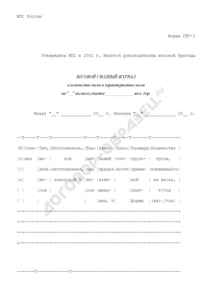 Весовой сводный журнал о количестве весов и характеристике весов. Форма N ГВУ-2. Страница 1