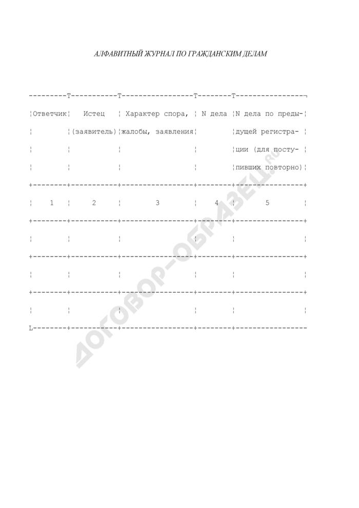 Алфавитный журнал по гражданским делам. Форма N 6. Страница 1