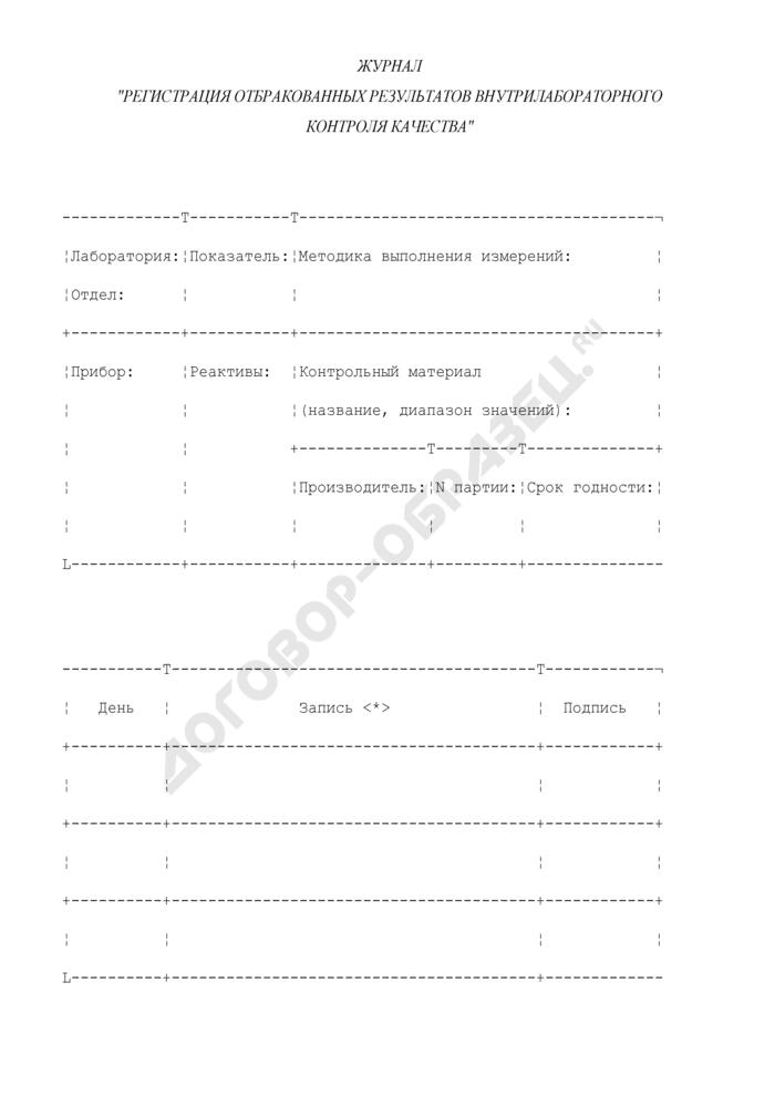 """Журнал """"Регистрация отбракованных результатов внутрилабораторного контроля качества"""" для проведения внутрилабораторного контроля качества количественных методов клинических лабораторных исследований с использованием контрольных материалов. Страница 1"""