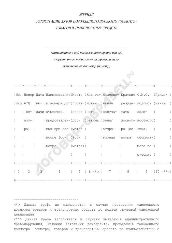 Журнал регистрации актов таможенного досмотра (осмотра) товаров и транспортных средств. Страница 1
