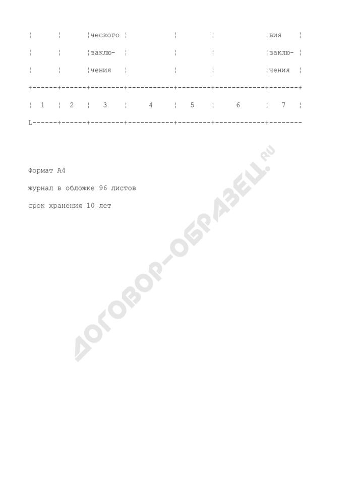 Журнал регистрации санитарно-эпидемиологических заключений на проектную документацию. Форма N 303-00-2/у. Страница 2