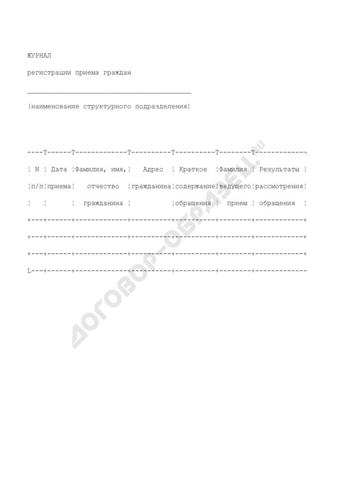 Журнал регистрации приема граждан в Федеральном агентстве воздушного транспорта. Страница 1