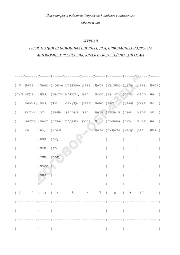 Журнал регистрации пенсионных (личных) дел, присланных из других автономных республик, краев и областей по запросам. Страница 1