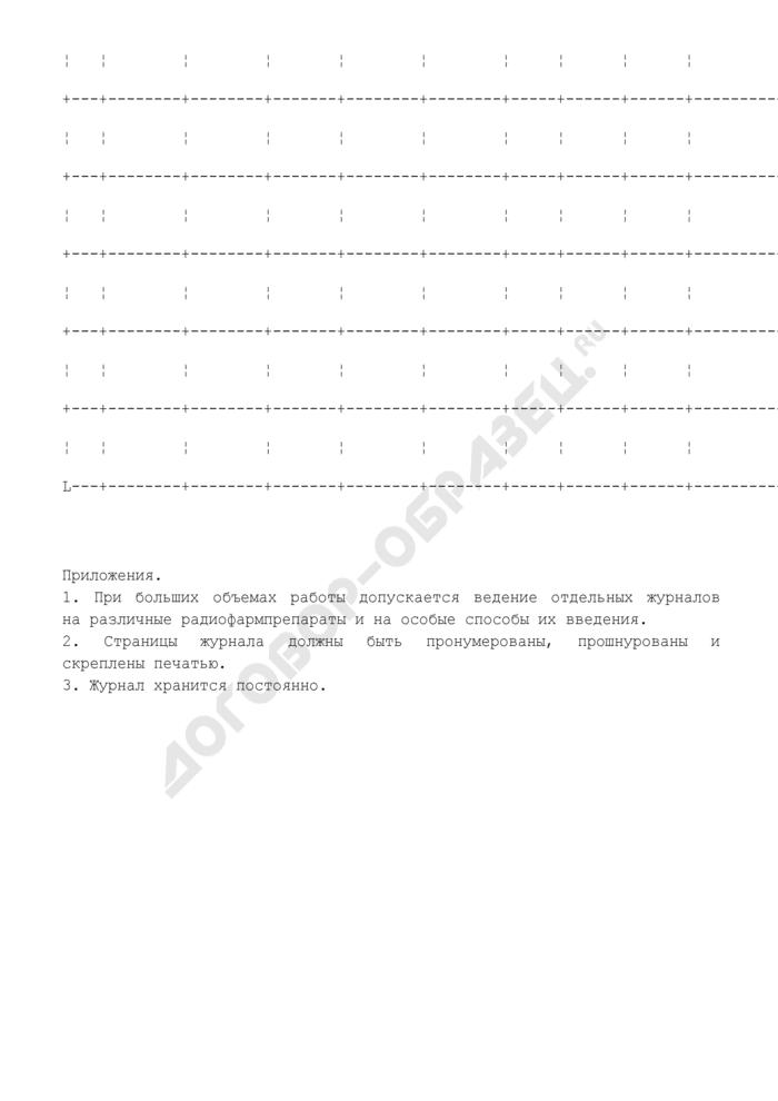 Журнал введения радиофармпрепаратов пациентам. Страница 2