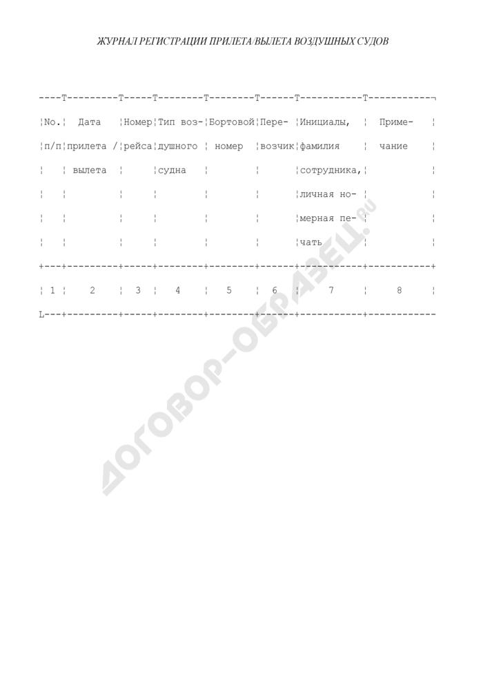 Журнал регистрации прилета/вылета воздушных судов. Страница 1
