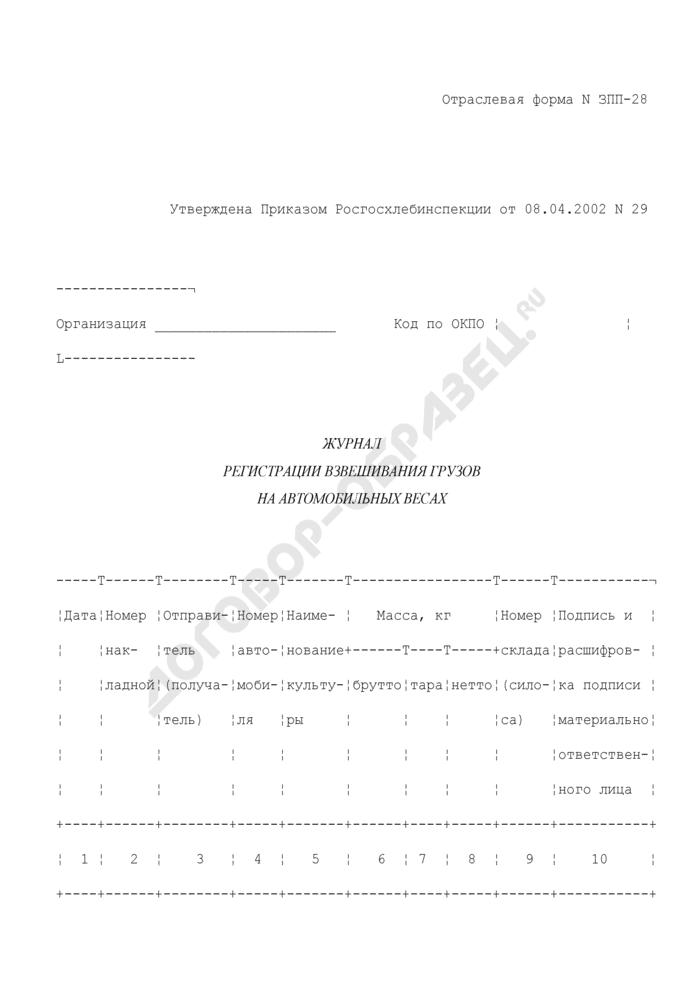 Журнал регистрации взвешивания грузов на автомобильных весах. Отраслевая форма N ЗПП-28. Страница 1
