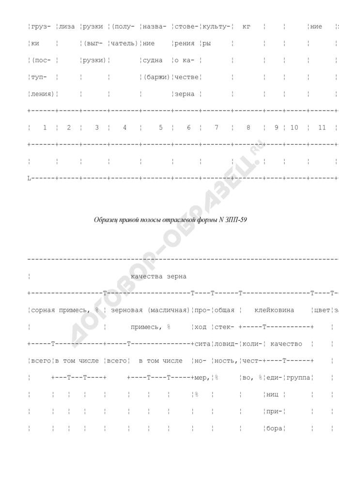 Журнал регистрации показателей качества зерна, поступающего и отгружаемого железнодорожным и водным транспортом. Отраслевая форма N ЗПП-59. Страница 2