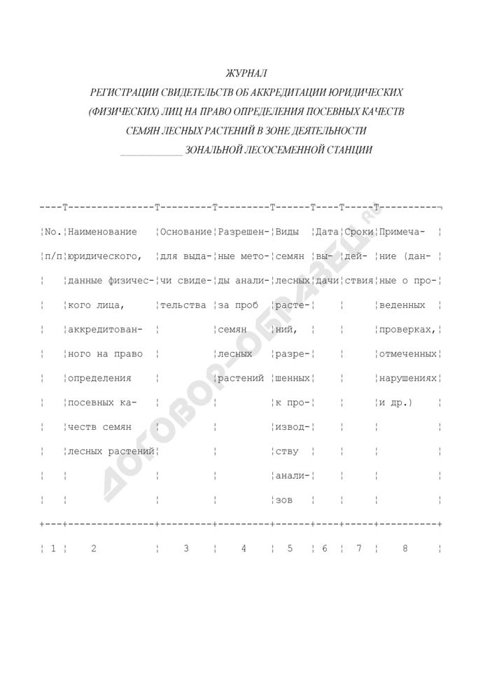 Журнал регистрации свидетельств об аккредитации юридических (физических) лиц на право определения посевных качеств семян лесных растений в зоне деятельности зональной лесосеменной станции. Страница 1