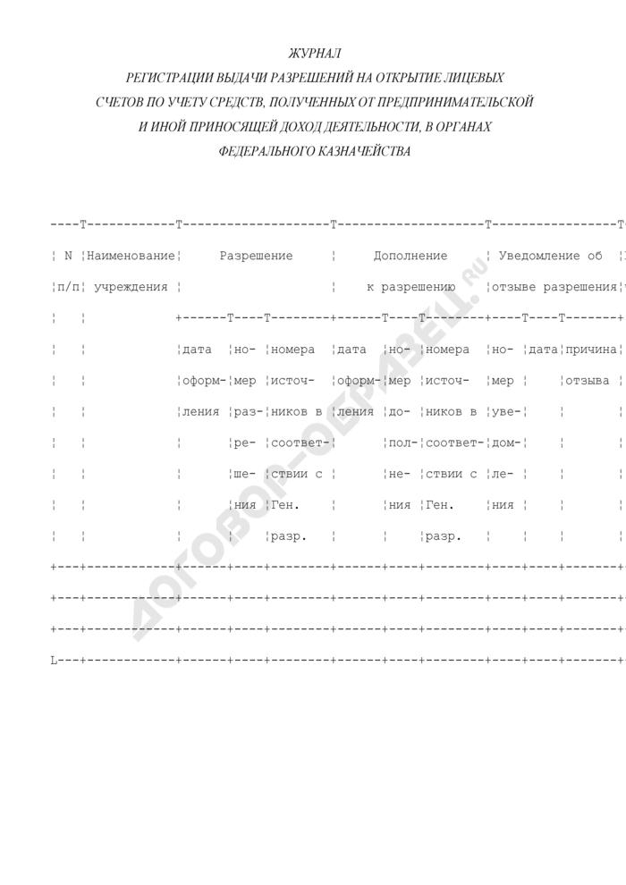 Журнал регистрации выдачи разрешений на открытие лицевых счетов по учету средств, полученных от предпринимательской и иной приносящей доход деятельности, в органах Федерального казначейства. Страница 1