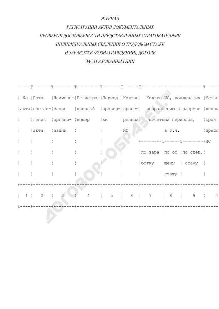 Журнал регистрации актов документальных проверок достоверности представленных страхователями индивидуальных сведений о трудовом стаже и заработке (вознаграждении), доходе застрахованных лиц. Страница 1