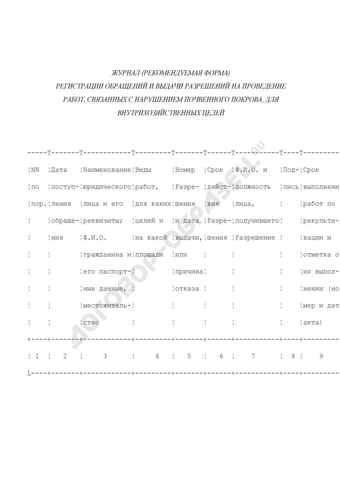 Журнал регистрации обращений и выдачи разрешений на проведение работ, связанных с нарушением почвенного покрова, для внутрихозяйственных целей (рекомендуемая форма). Страница 1