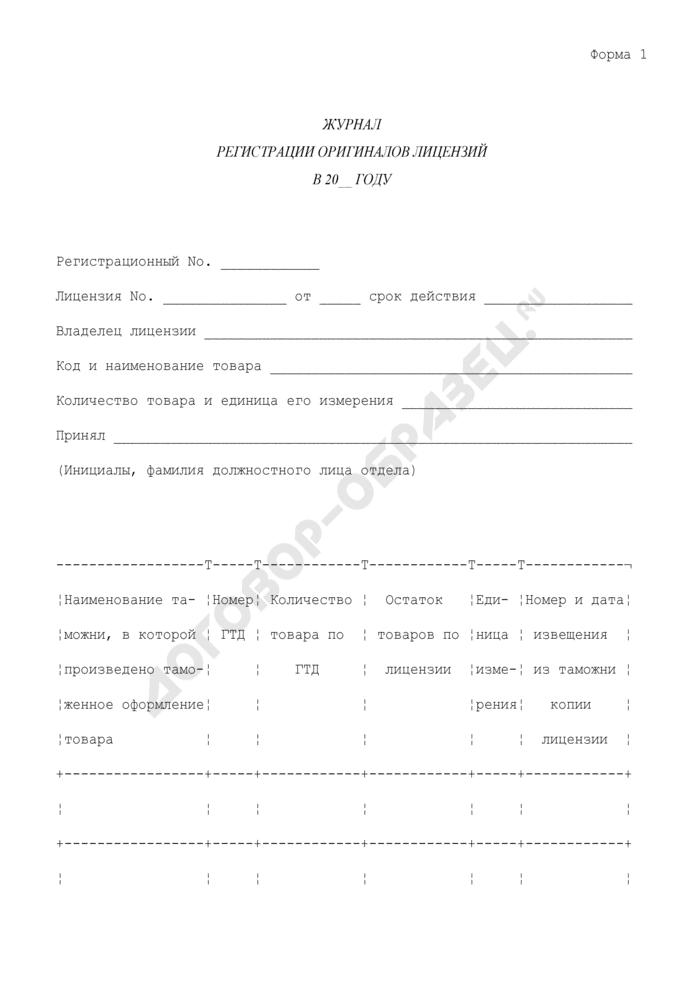 Журнал регистрации оригиналов лицензий. Форма N 1. Страница 1