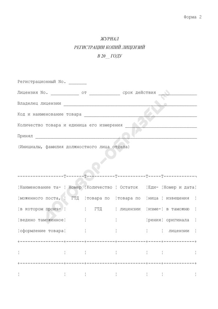 Журнал регистрации копий лицензий. Форма N 2. Страница 1