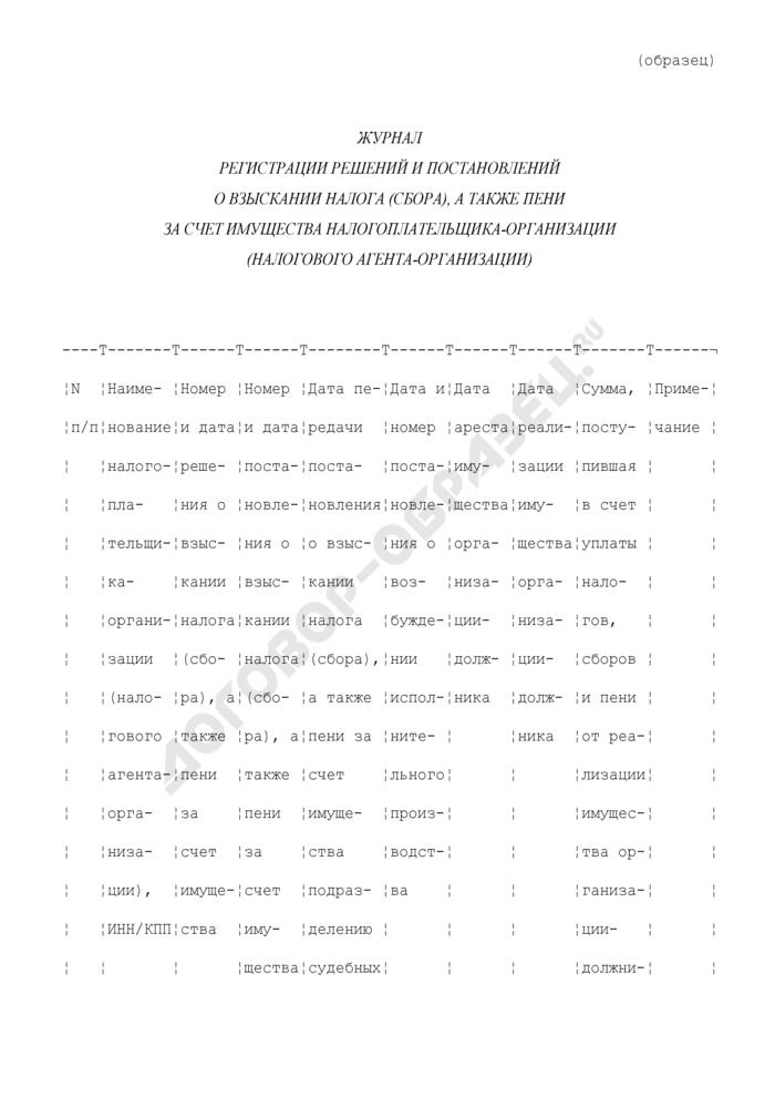 Журнал регистрации решений и постановлений о взыскании налога (сбора), а также пени за счет имущества налогоплательщика-организации (налогового агента-организации) (образец). Страница 1