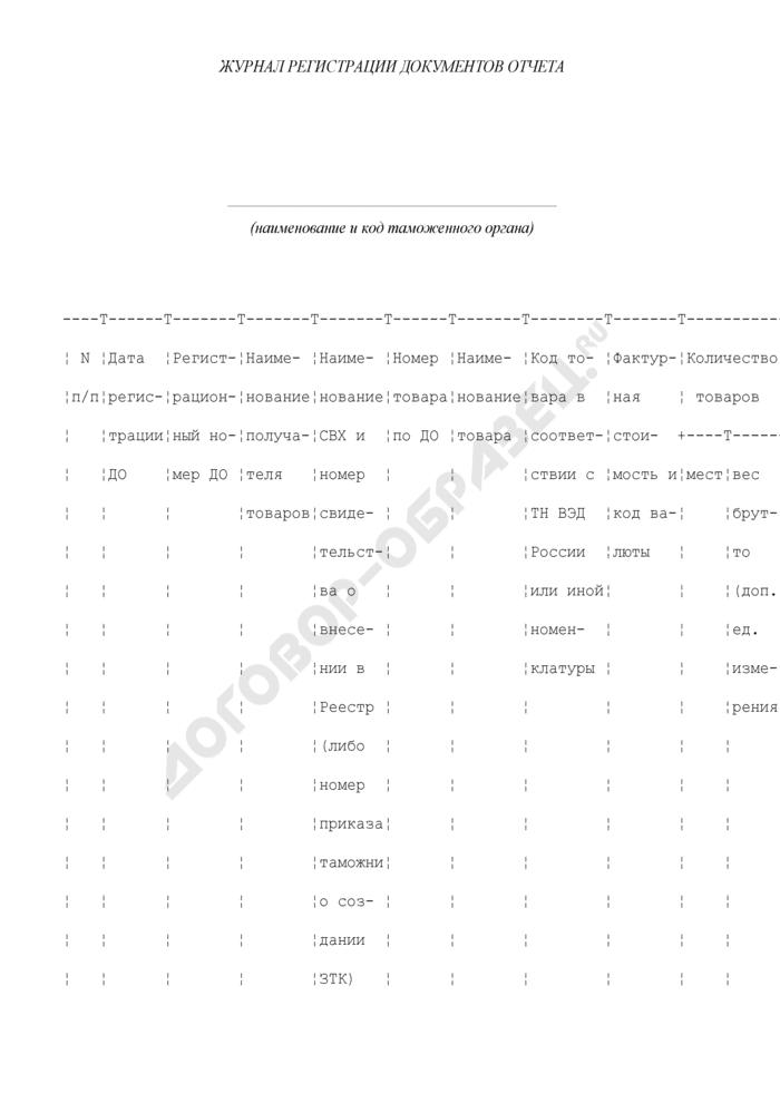 Журнал регистрации документов отчета. Страница 1