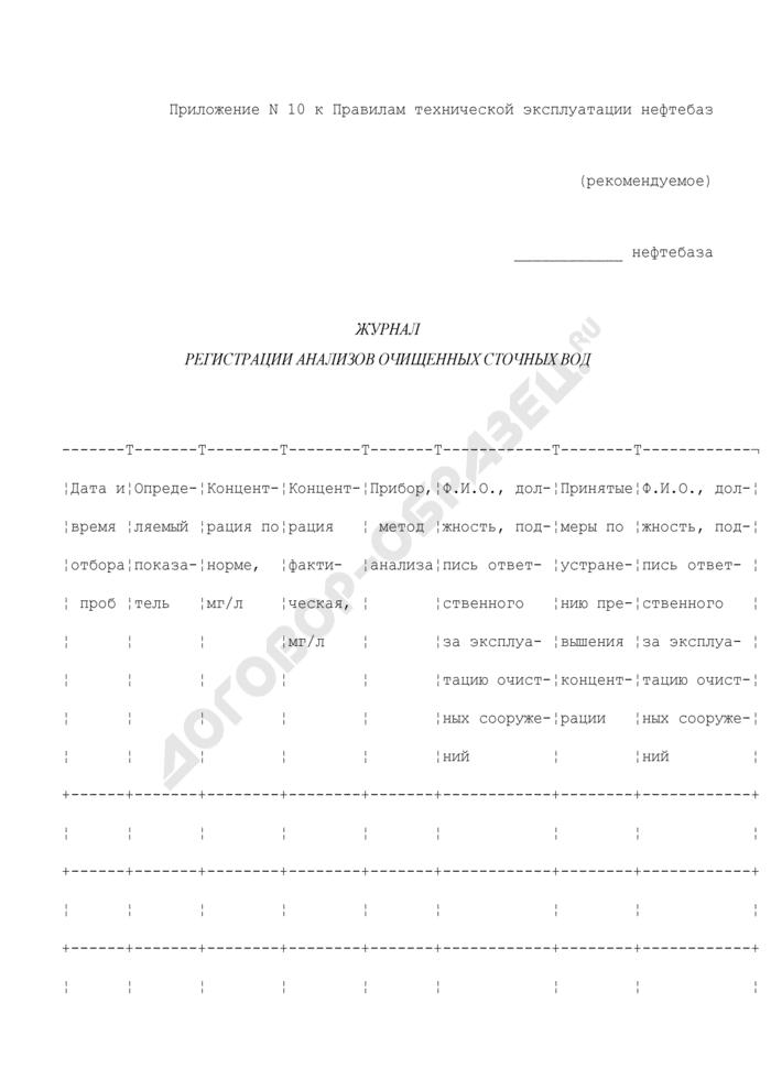 Журнал регистрации анализов очищенных сточных вод (рекомендуемая форма). Страница 1