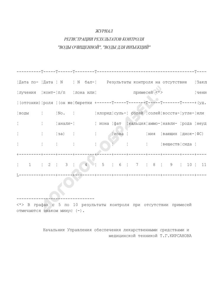 """Журнал регистрации результатов контроля """"воды очищенной"""", """"воды для инъекций. Страница 1"""