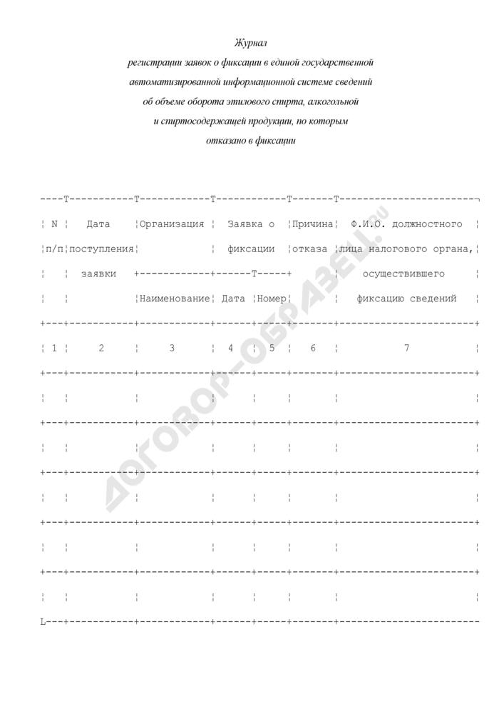 Журнал регистрации заявок о фиксации в единой государственной автоматизированной информационной системе сведений об объеме оборота этилового спирта, алкогольной и спиртосодержащей продукции, по которым отказано в фиксации. Страница 1