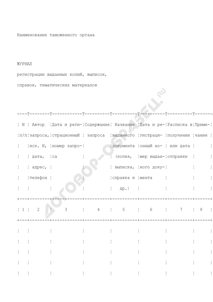 Журнал регистрации выданных копий, выписок, справок, тематических материалов из архива таможенного органа. Страница 1