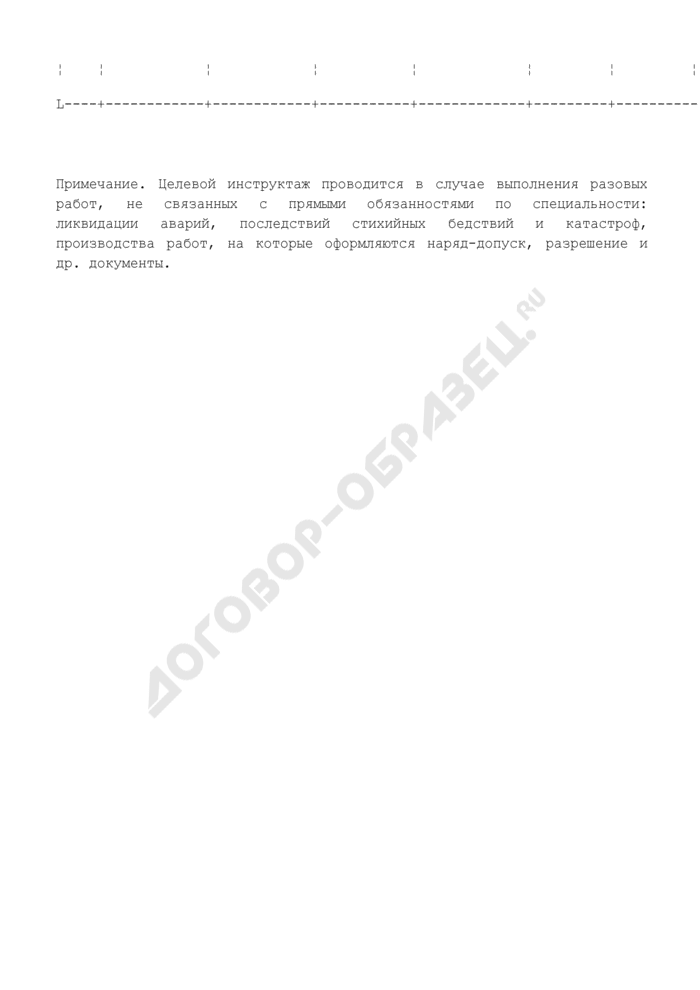Журнал регистрации целевого инструктажа по охране труда. Страница 2