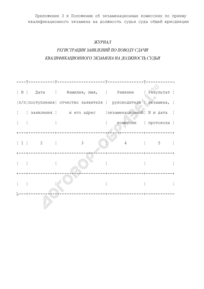 Журнал регистрации заявлений по поводу сдачи квалификационного экзамена на должность судьи суда общей юрисдикции. Страница 1