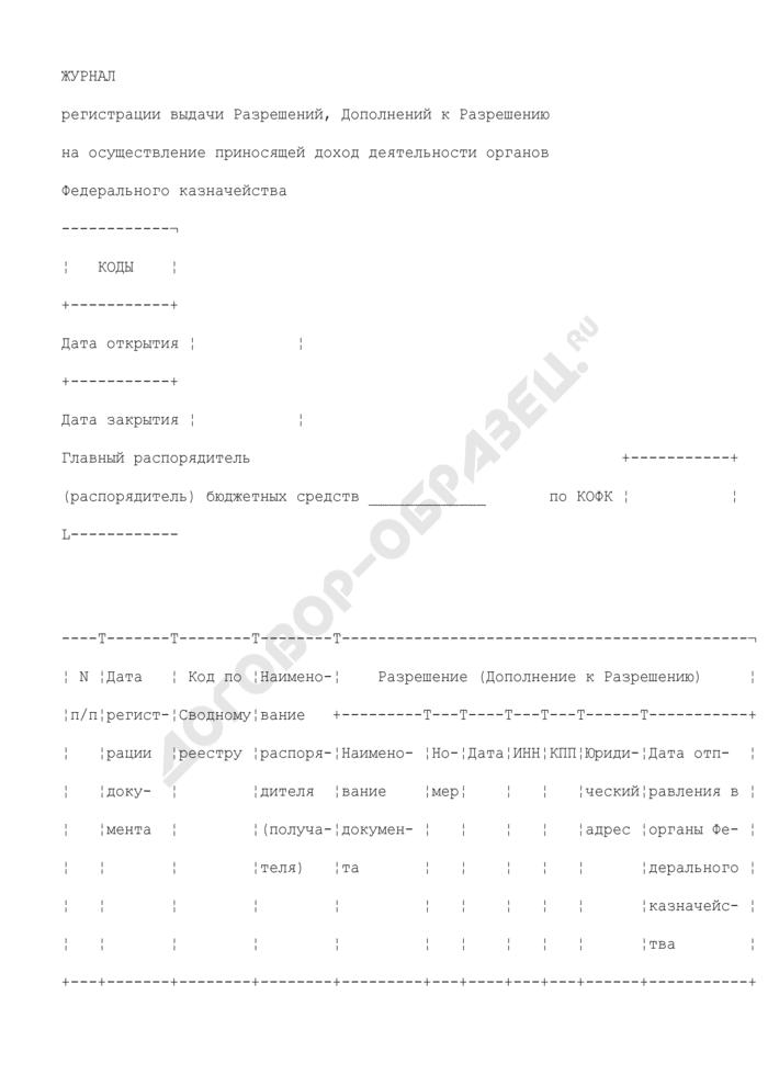 Журнал регистрации выдачи разрешений, дополнений к разрешению на осуществление приносящей доход деятельности органов Федерального казначейства. Страница 1