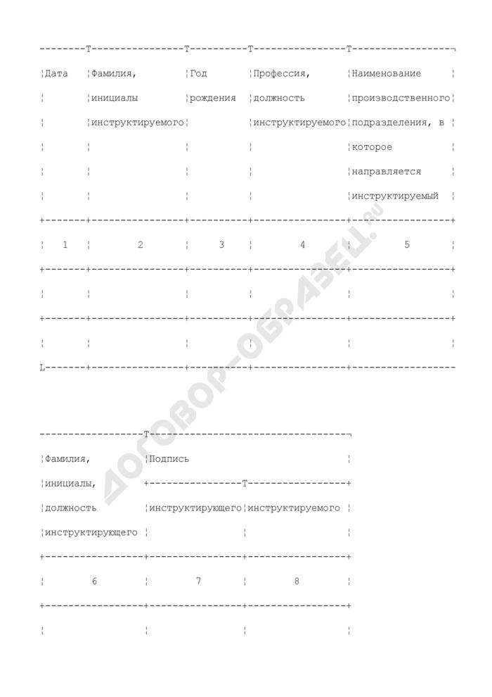 Журнал регистрации вводного инструктажа по охране труда органов управления, учреждений, организаций и предприятий системы Департамента здравоохранения города Москвы. Страница 1