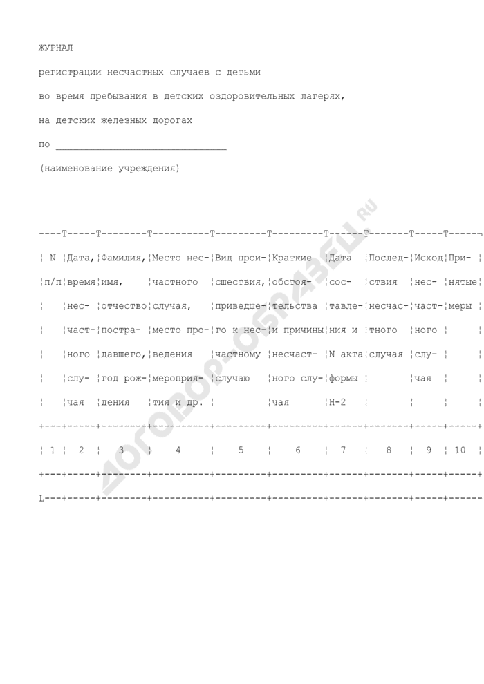 Журнал регистрации несчастных случаев с детьми во время пребывания в детских оздоровительных лагерях, на детских железных дорогах. Страница 1