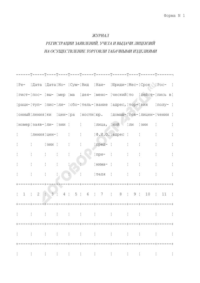 Журнал регистрации заявлений, учета и выдачи лицензий на осуществление торговли табачными изделиями в Мытищинском районе Московской области. Форма N 1. Страница 1