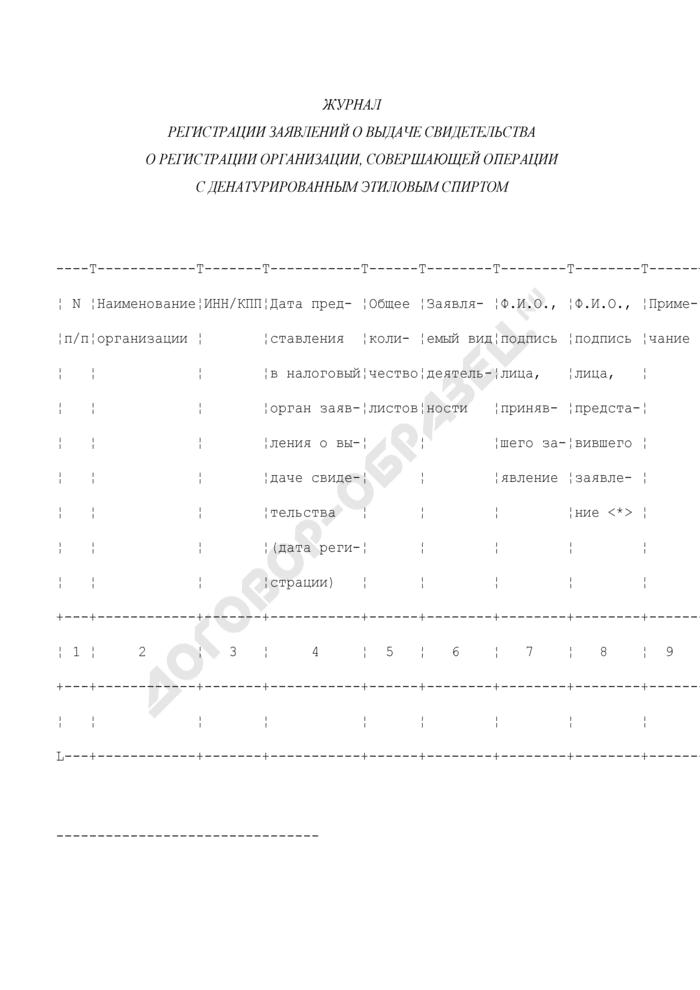 Журнал регистрации заявлений о выдаче свидетельства о регистрации организации, совершающей операции с денатурированным этиловым спиртом. Страница 1