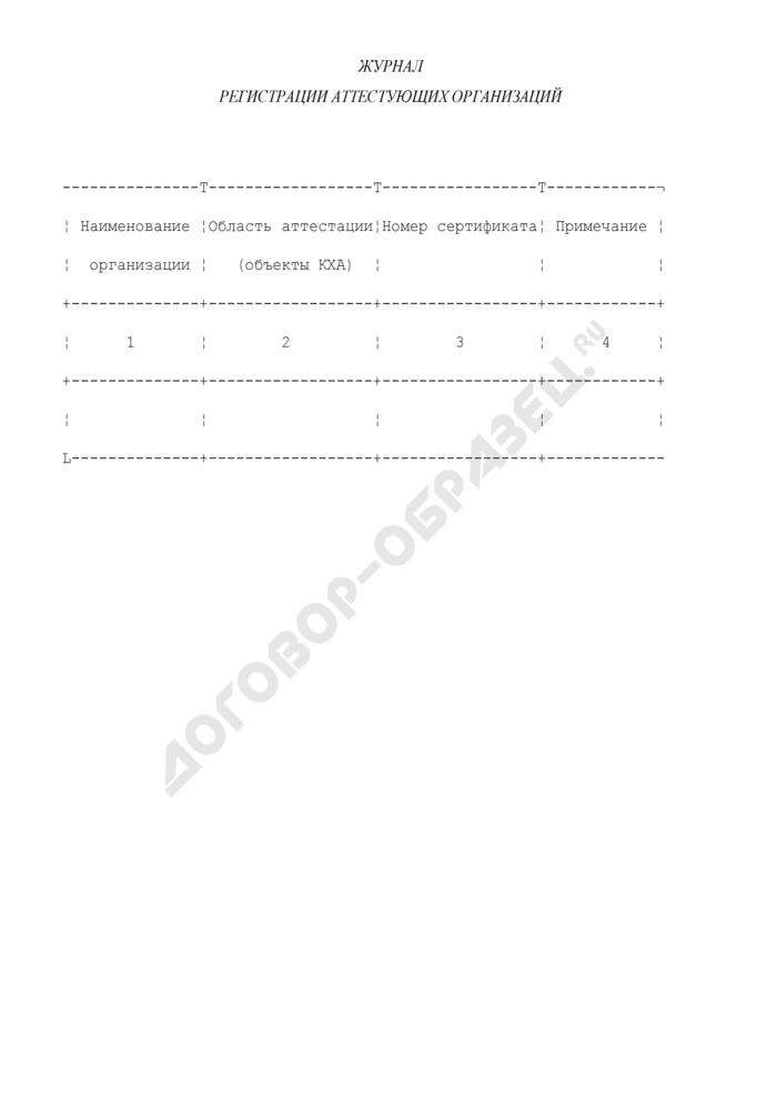 Журнал регистрации аттестующих организаций на право выполнения количественного химического анализа (рекомендуемая форма). Страница 1