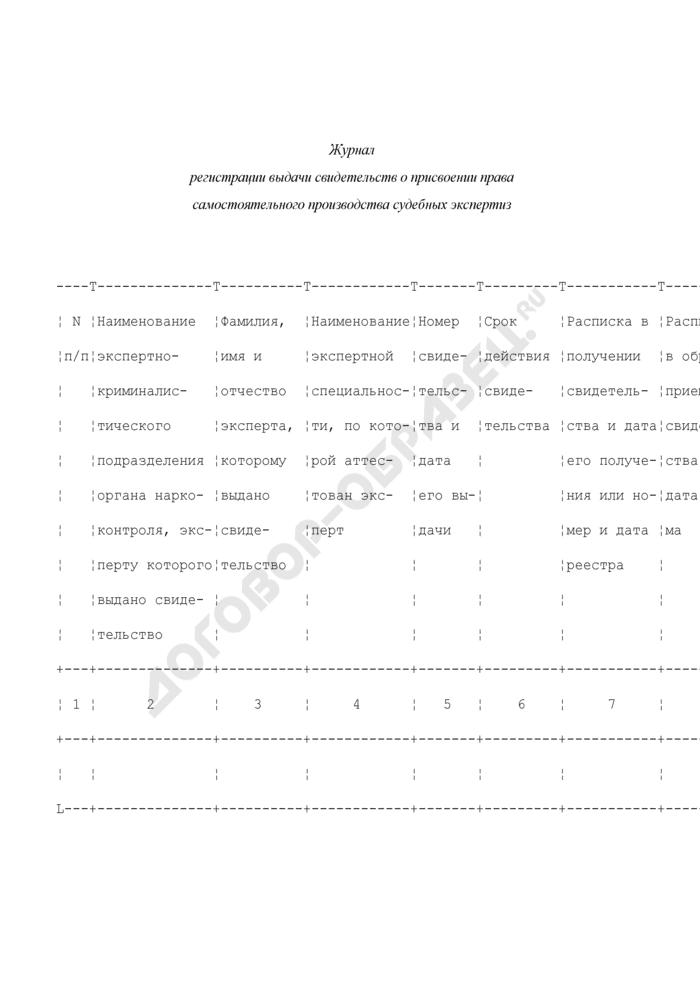 Журнал регистрации выдачи свидетельств о присвоении права самостоятельного производства судебных экспертиз. Страница 1