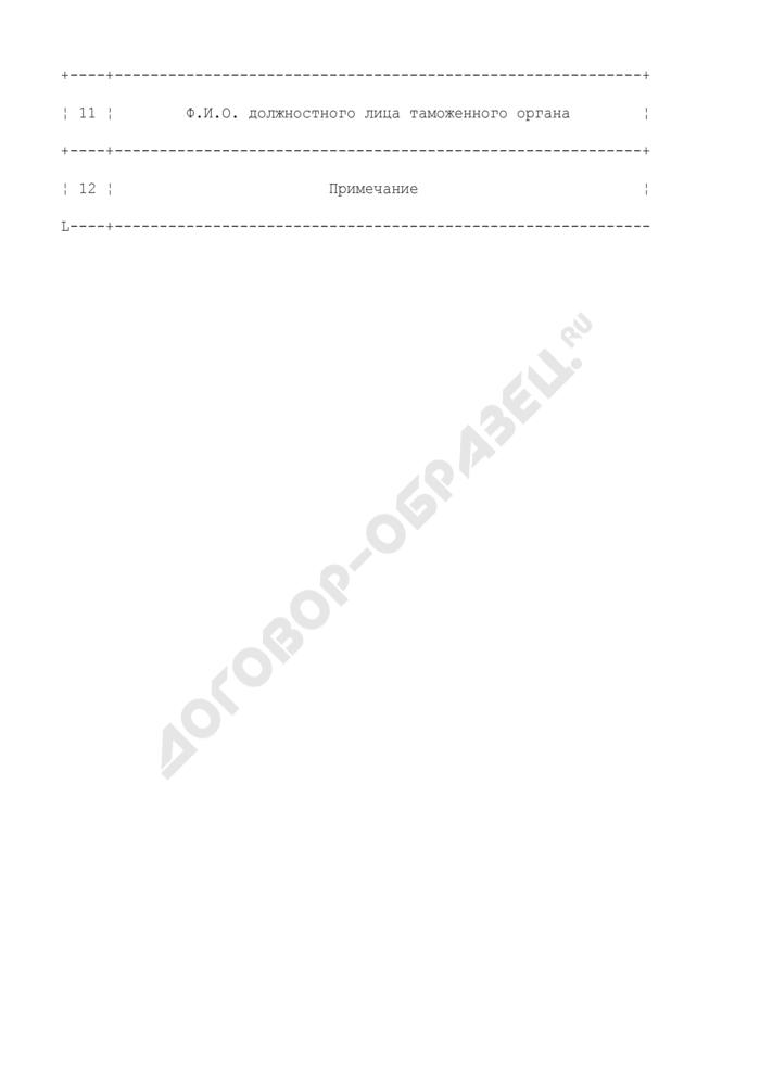 Журнал регистрации обратного вывоза товаров по карнетам АТА. Страница 2