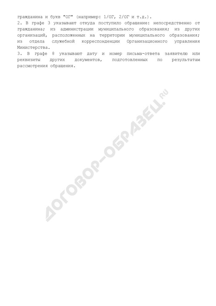 Журнал регистрации обращений граждан в Министерство финансов Московской области. Страница 2