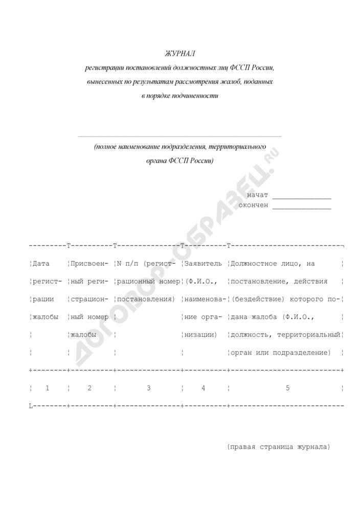 Журнал регистрации постановлений должностных лиц ФССП России, вынесенных по результатам рассмотрения жалоб, поданных в порядке подчиненности. Страница 1