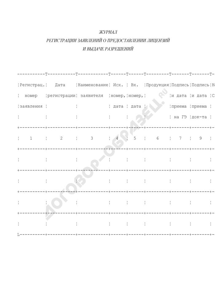 Журнал регистрации заявлений о предоставлении лицензий и выдаче разрешений Федеральной службой по техническому и экспортному контролю. Страница 1