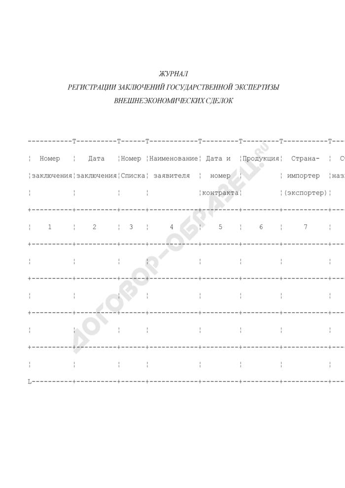 Журнал регистрации заключений государственной экспертизы внешнеэкономических сделок. Страница 1