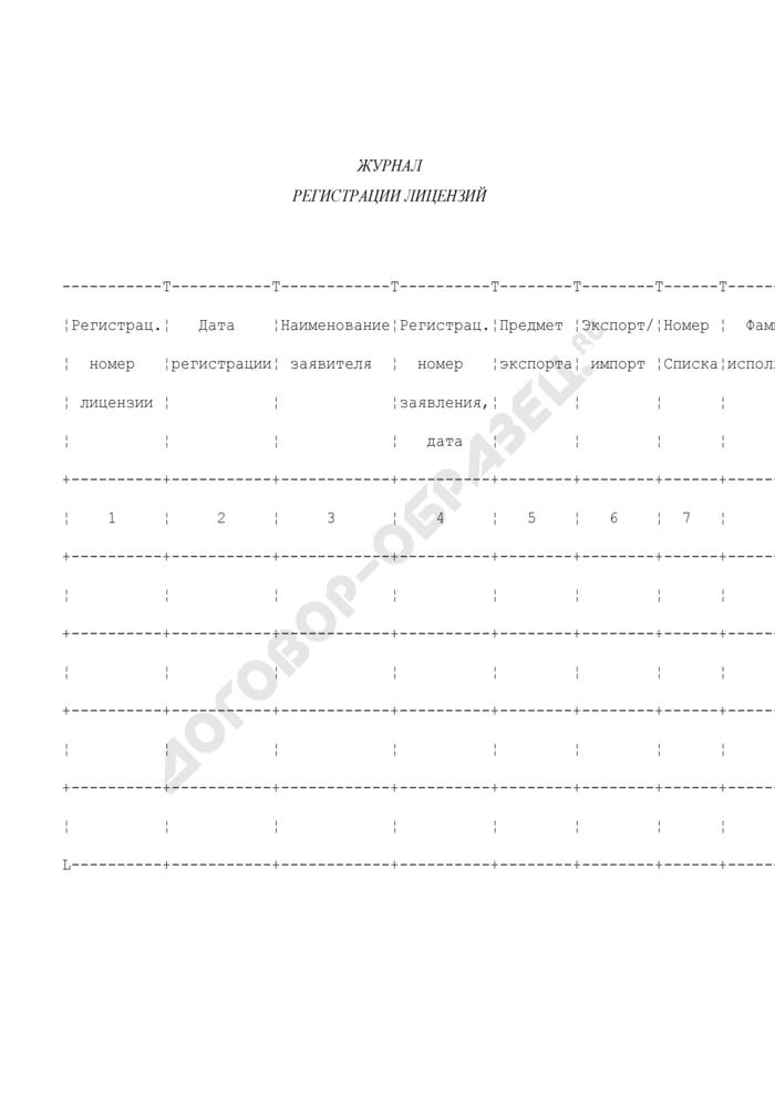 Журнал регистрации лицензий на осуществление внешнеэкономических операций с контролируемой продукцией. Страница 1