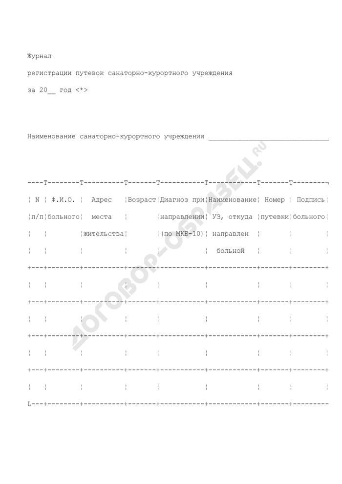 Журнал регистрации путевок санаторно-курортного учреждения. Страница 1