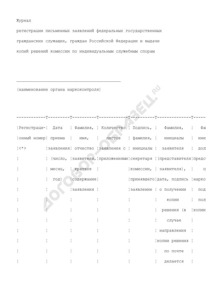 Журнал регистрации письменных заявлений федеральных государственных гражданских служащих, граждан Российской Федерации и выдачи копий решений комиссии по индивидуальным служебным спорам в Федеральной службе Российской Федерации по контролю за оборотом наркотиков. Страница 1