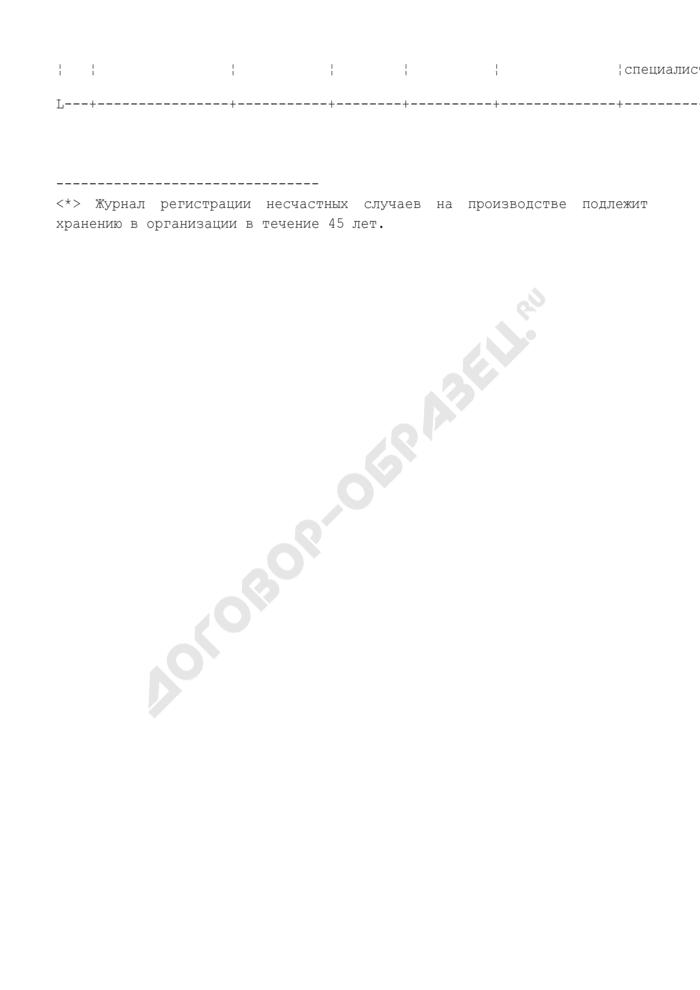 Журнал регистрации несчастных случаев на производстве (пример заполнения). Страница 2