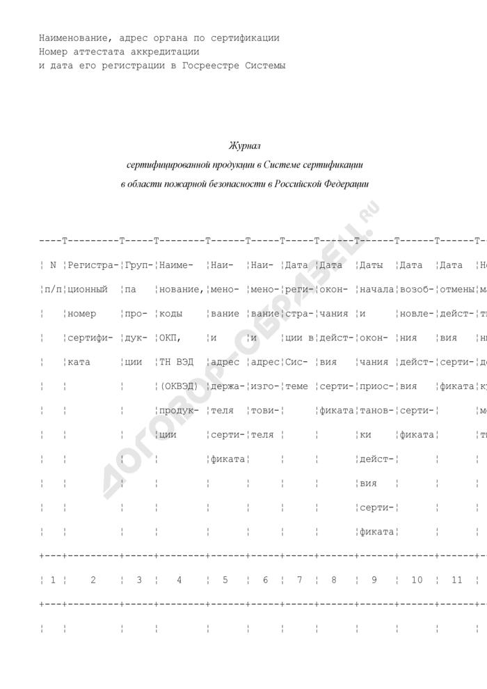 Журнал сертифицированной продукции в системе сертификации в области пожарной безопасности в Российской Федерации (рекомендуемая форма). Страница 1