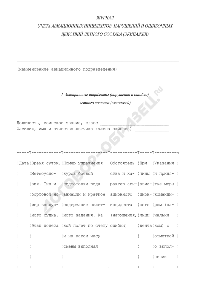 Журнал учета авиационных инцидентов, нарушений и ошибочных действий летного состава (экипажей). Страница 1