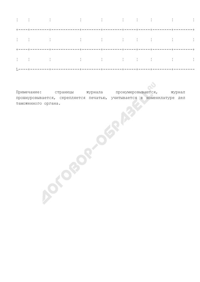 Журнал учета временных пропусков на объекты Федеральной таможенной службы России. Страница 3