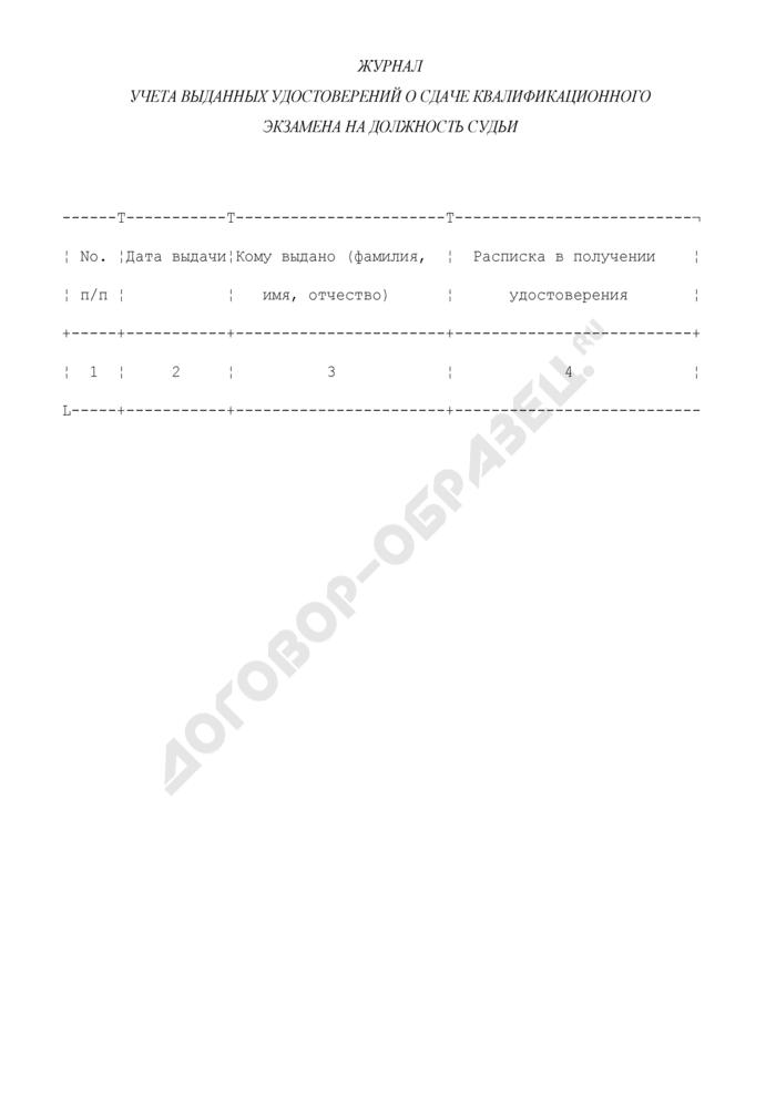 Журнал учета выданных удостоверений о сдаче квалификационного экзамена на должность судьи. Страница 1