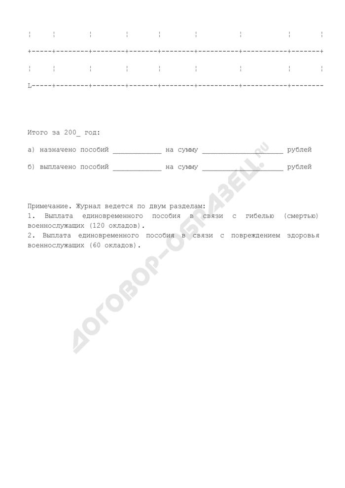 """Журнал учета выплат единовременного пособия, установленного пунктами 2 и 3 статьи 18 Федерального закона """"О статусе военнослужащих. Страница 2"""