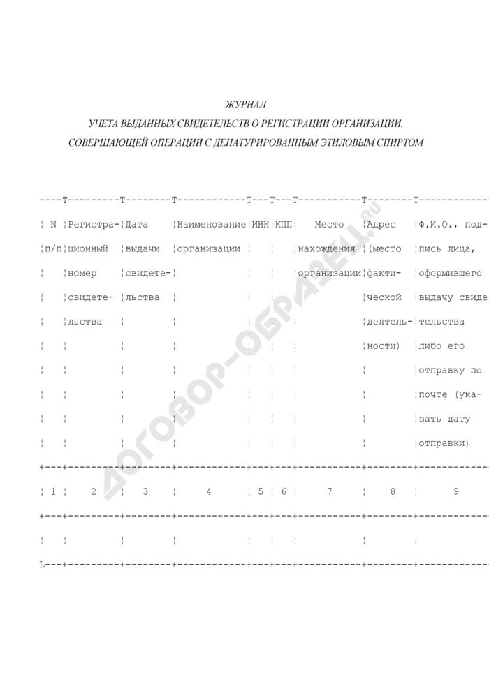 Журнал учета выданных свидетельств о регистрации организации, совершающей операции с денатурированным этиловым спиртом. Страница 1