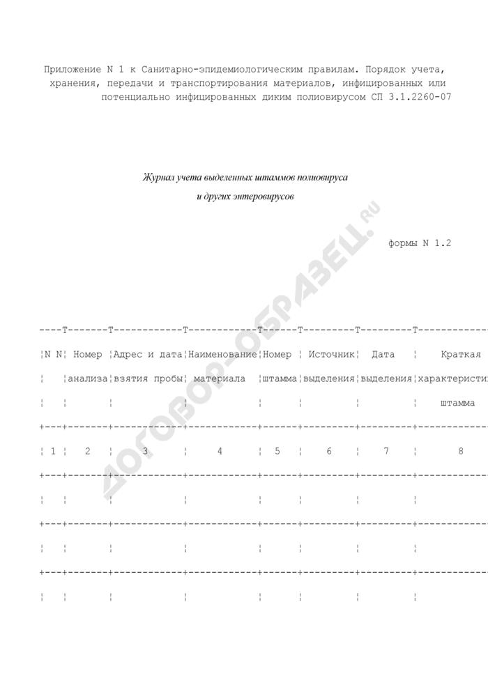 Журнал учета выделенных штаммов полиовируса и других энтеровирусов. Форма N 1.2. Страница 1